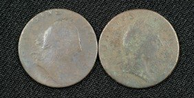 "Pair Of Virginia 1773 Half Pennies Both ""without Do"