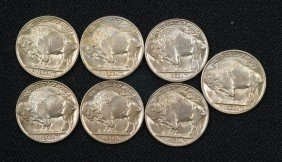 7 Various Date Buffalo Nickels All Bright MS60 Or B