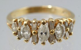 14K YG Marquis Diamond Ring, 5 Marquis And 8 Baguet