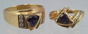 14K YG And Alexandrite Man's And Woman's Ring Set,
