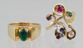 (2) 14K YG Ladies Rings With Colored Stones, (1) Em