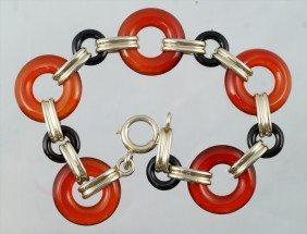 """14K WG, Carnelian & Onyx Link Bracelet, 7 1/4"""" Long"""