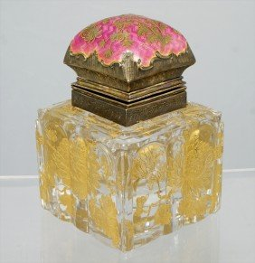 French Gilt And Enameled Crystal Inkwell, 19th C,