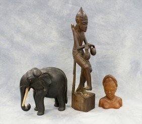 (3) Assorted Asian Wood Carvings, C/o Elephant,