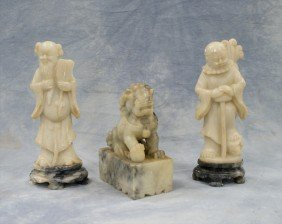 (3) Pieces Of Chinese Carved Soapstone, C/o Pair