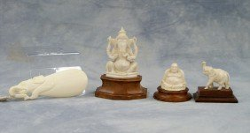 (4) Assorted Pieces Of Indian Ivory, C/o Ganesha