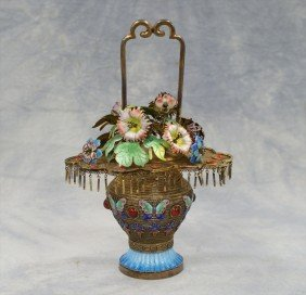 Chinese Unmarked Silver & Gilt & Enamel Flower B