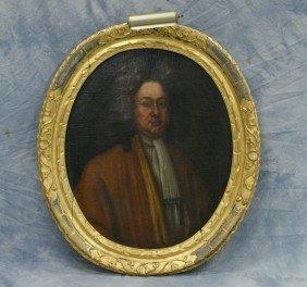 18th C School, Oval O/c, Portrait Of A Man In Cur
