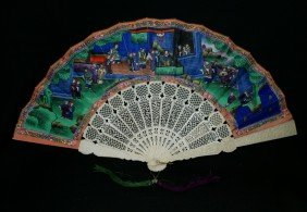 Chinese Export Carved Ivory Fan With Double Sided
