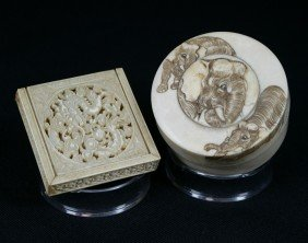 (2) Ivory Boxes, Japanese Circular Box With Carve