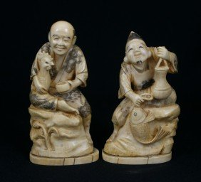 (2) Japanese Carved Ivory Figures, C 1900, Talle