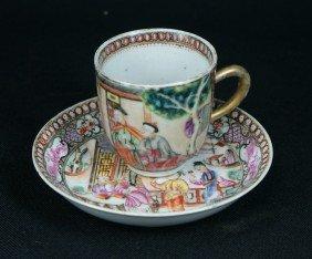 Fine Chinese Export Mandarin Demitasse Cup & Sau
