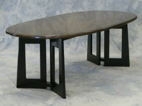 Oval Mahogany & Black Lacquer Japanese DR Table