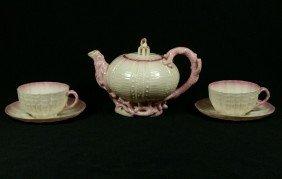 Early Belleek Black Mark Echinus Pattern Teapot