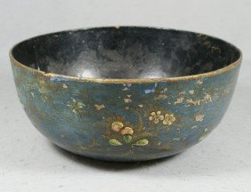 English Paper Mache Bowl, In The Chinoserie Styl