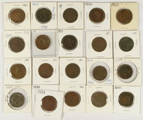 21 Assorted Large Cents Mostly AG/G With A Few Be