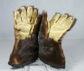 Fur And Leather Driving Gloves, Quilted Interior,