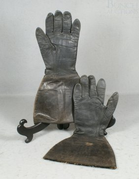"Black Leather Driving Gloves,  14"" Long"