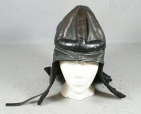 Black Leather Riding Cap, Good Condition