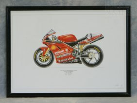 "Signed David Wilson Motorcycle Print ""1999 Ducati P"