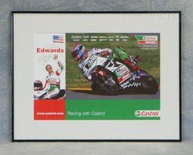 Signed Castrol Colin Edwards Promotional Poster, 17