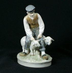 Royal Copenhagen Figurine, Farmer With Sheep, #62