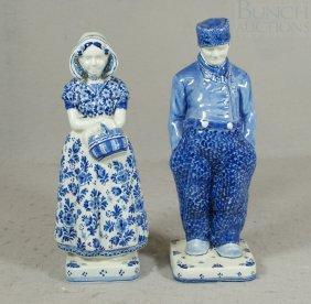 2 Royal Delft Figures Of A Young Girl & Boy, Arti