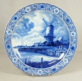 Royal Delft Charger, Windmill, Artist JP, C 1962,