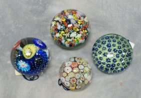 (4) Murano Art Glass Paperweights, All With Paper