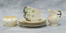 (10) Pieces Of Belleek Shamrock Basketweave Dinne