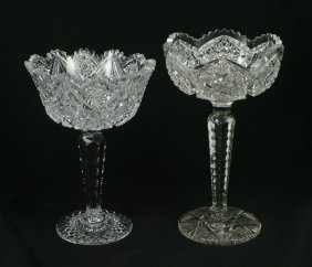 "(2) Brilliant Cut Glass Compotes, Tallest 9 3/4"","