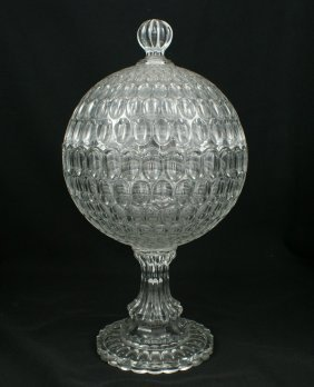 "EAPG Thumbprint Covered Compote, 14 3/4"" H, 8"" D,"