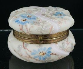 Wavecrest Dresser Jar, Swirled Top With Floral De