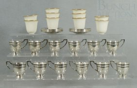 12 Sterling Silver Demitasse Cup Frames And Sauce