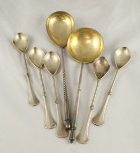 7 Imperial Russian Silver Spoons, Set 6 Dessert S