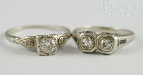 (2) 18K WG Ladies Diamond Rings, One W/(2) 20-25