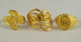 (3) Chinese Fine Gold Ladies Rings, Marked 9999H