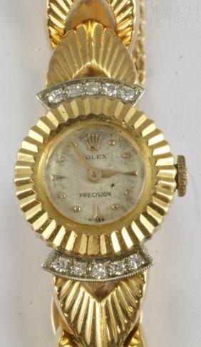 Ladies Rolex 18K YG Wrist Watch And Band, 17j Mo