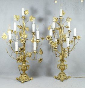 Pair Of French Victorian Candlesticks Converted