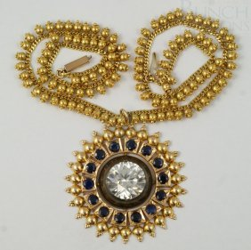 "9K YG Necklace, 14"" L,1 5/8"" D With A Round Penda"