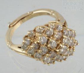 14K YG Ladies Diamond Dinner Ring, About 33 Diamo