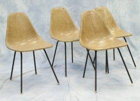 4 Molded Fiberglass Chairs On Tubular Steel Base