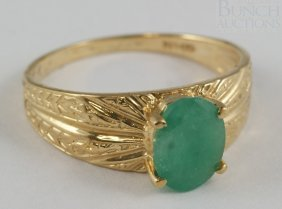 10K YG Emerald Ladies Ring, Size 6 1/2, 1.5 Dwt