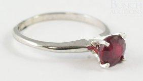 14K WG Ruby Ladies Ring, Size 6 1/4, 1.1 Dwt