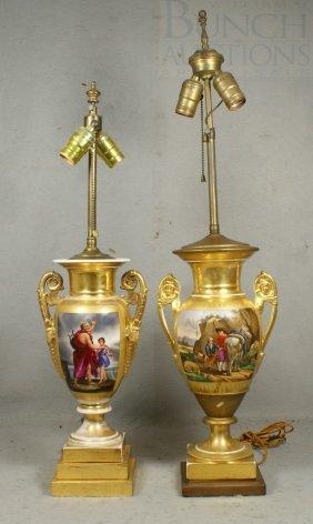 (2) Similar Paris Porcelain Vases, Mounted As Lam