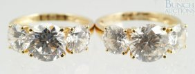 (2) 14K YG Cubic Zirconia Ladies Rings, Size 5,