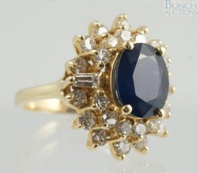 14K YG Diamond & Sapphire Ladies Ring, 10 X 8 Mm