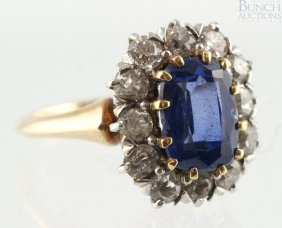 14K YG Diamond & Sapphire Ladies Ring, 8 X 6 Mm