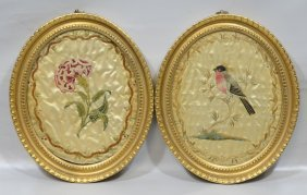 Two English Embroideries, 18th Century, Bird In Branch