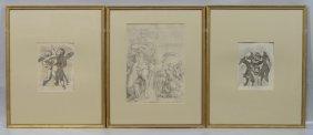 "(3) 17th/18th Century Engravings, Each 21"" X 17"""